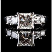 14k White Gold & Platinum Princess Cut Leo Diamond Engagement Ring 2.62ctw
