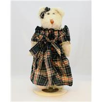 Boyds Bears Plush 1995 Willa Bruin - Bear in Plaid Dress with Metal Stand #91205