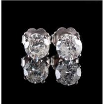 14k White Gold Round Cut Diamond Solitaire Stud Earrings 1.20ctw