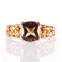 14k Yellow Gold Smokey Quartz / Citrine / Diamond Cocktail Ring 2.83ctw