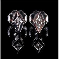 14k White Gold Round Cut Diamond Solitaire Stud Earrings .05ctw