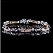 14k Yellow & White Gold Two-Tone Round Cut Diamond Bracelet 2.13ctw