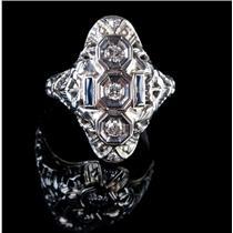 Vintage 1920's 18k White Gold Round Cut Diamond & Sapphire Cocktail Ring .36ctw