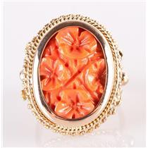Vintage 1920's 14k Yellow & Rose Gold Natural Coral Carved Flower Ring 9.1g