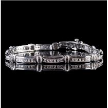 10k White Gold Round Cut Diamond Milgrain Tennis Link Bracelet .88ctw