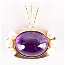 Vintage 1980's 14k Yellow Gold Oval Cabochon Amethyst and Pearl Pendant 19.16ct