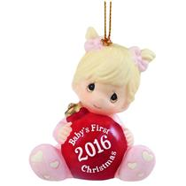 Precious Moments Ornament 2016 Baby's First Christmas - Girls - #161005