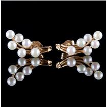 14k Yellow Gold Round Cut Cultured Pearl Floral Stud / Post Earrings