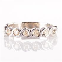 14k White Gold Round Cut Yellow Diamond Wedding / Anniversary Band .18ctw