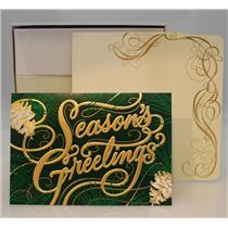 Hallmark Boxed Cards Gold Season's Greetings on Green - 12 Cards - #PX2202