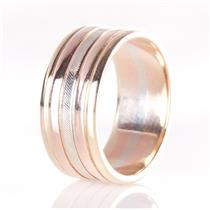 14k Yellow / White / Rose Gold Tri-Color Band W/ Etching 8.0g Size 7.5