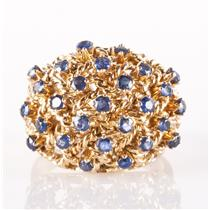 Vintage 1950's 14k Yellow Gold Round Cut Sapphire Cocktail Ring 1.08ctw