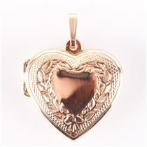 Classic 14k Yellow Gold Engraved Heart Locket Pendant 3.9g