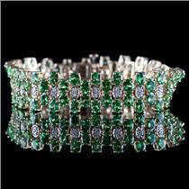 14k Yellow Gold Oval Cut Tsavorite Garnet & Diamond Bracelet 20.44ctw