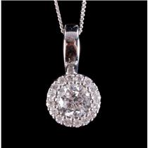 "14k White Gold Round Cut Canadian Diamond Halo Pendant W/ 17"" Chain .42ctw"