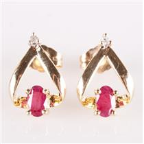 14k Yellow Gold Oval Cut Ruby & Single Cut Diamond Post Earrings .35ctw