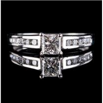 Platinum Princess Cut Diamond Solitaire Engagement Ring W/ Accents .73ctw