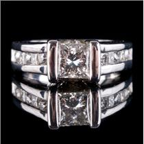 Platinum Square Cut Bar Set Diamond Solitaire Engagement Ring W/ Accent 2.28ctw
