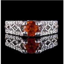 14k White Gold Round Cut Mandarin Garnet Engagement Ring W/ Diamonds 1.33ctw