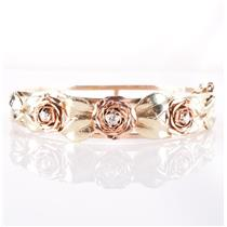 "14k Yellow / Rose / Green Gold Diamond Rose & Leaf Cuff Bracelet 8"" Length 26.9g"