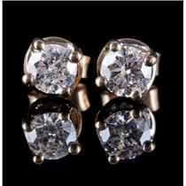 14k Yellow Gold Round Cut Diamond Solitaire Stud Earrings W/ Side Accents .98ctw
