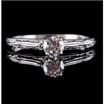 14k White Gold Round Cut Diamond Engraved Solitaire Engagement Ring .26ctw