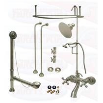 Satin Brushed Nickel Clawfoot Tub Faucet Kit  Complete with Two Extra Ceiling Mounts