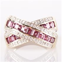 14k Yellow Gold Square Cut Spinel & Single Cut Diamond Ribbon Style Ring 1.04ctw
