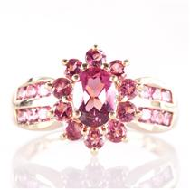 14k Yellow Gold Round & Oval Cut Pink Tourmaline Halo Style Ring 1.53ctw