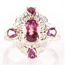 14k Yellow Gold Pink Tourmaline Cocktail Ring W/ Diamond Accents 1.27ctw
