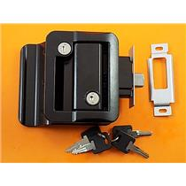 RV Entry Door Lock Handle Knob w / deadbolt RV Camper Travel Trailer- (Black) TDL-01-B