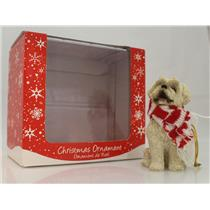Sandicast Ornament Maltese Sitting with Red and White Scarf - #XSO026-WS-DB