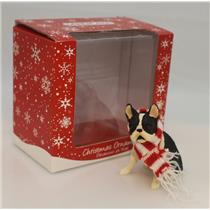 Sandicast Ornament Boston Terrier Sitting with Red and White Scarf - #XSO19305