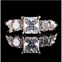 14k Yellow Gold Princess Cut Diamond Solitaire Accented Engagement Ring 1.58ctw