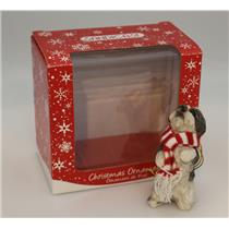 Sandicast Ornament Silver and White Shih Tzu with Red and White Scarf - XSO16408
