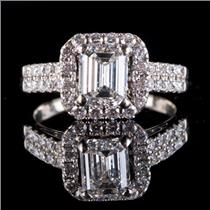 14k White Gold Emerald Cut Diamond Halo Engagement Ring 1.97ctw