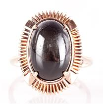 Vintage 1930s 14k Rose Gold Oval Cabochon Cut Star Diopside Cocktail Ring 8.65ct