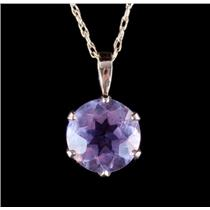 "14k Yellow Gold Round Cut Amethyst Solitaire Pendant W/ 20"" Chain 2.50ctw"