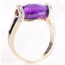 14k Yellow Gold Oval Checkerboard Cut Amethyst & Diamond Solitaire Ring 5.79ctw