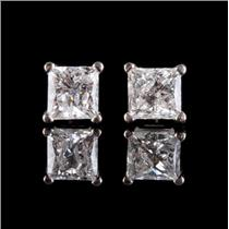 14k White Gold Princess Cut Diamond Solitaire Stud Earrings .66ctw
