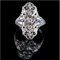 Vintage 1920's 18k White Gold Round Cut Diamond & Sapphire Cocktail Ring .19ctw