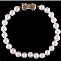 "Blue Lagoon Mikimoto 14k Yellow Gold Cultured Pearl & Diamond Bracelet 7.5"""