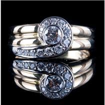 14k Yellow & White Gold Two-Tone Round Cut Diamond Swirl Style Ring .475ctw
