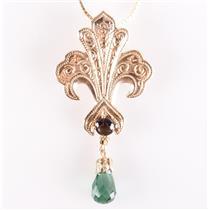 Vintage 1970's 14k Yellow Gold Star Sapphire & Tourmaline Fleur-de-lis Necklace