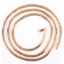 "18k Yellow Gold Herringbone Chain W/ Stamped Star Design 31.5"" Length 39.21g"