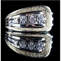 Vintage 1980's 14k Yellow & White Gold Two-Tone Round Cut Diamond Ring .285ctw