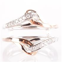 14k White & Rose Gold Two-Tone Round Cut Diamond Ring Jacket / Guard .20ctw