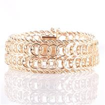 """14k Yellow Gold Heavy Circular Link & Rope Chain Style Bracelet 7.5"""" Length"""