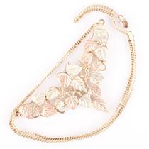 10k Black Hills Gold Tri-Color Leaf / Floral Festoon Style Necklace 12.45g