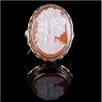 Vintage 1930's 18k Yellow Gold Oval Cameo Cut Shell Female Bust Cameo Ring